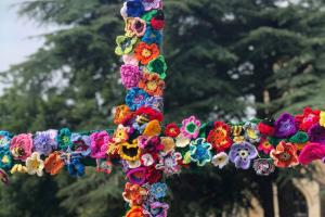 Yarn bombed cross at St Andrew's Swavesey