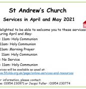 April and May services at St Andrew's, Swavesey