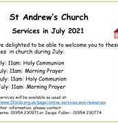 July services at St Andrew's, Swavesey
