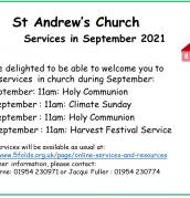 September services at St Andrew's, Swavesey